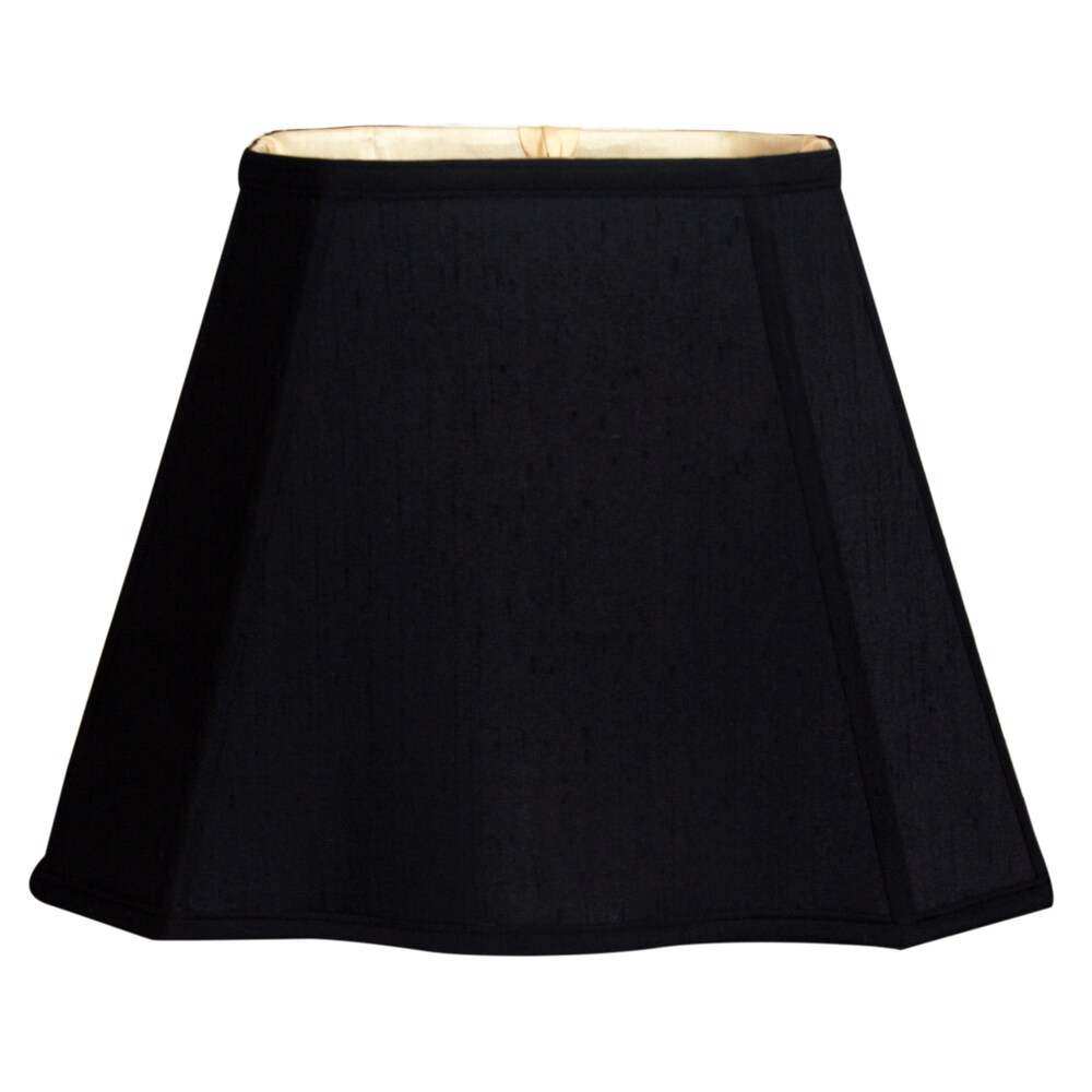 Royal Designs Fancy Bottom Rectangle Basic Lamp Shade, Black/Gold 5 x 6.5 x 8 x 12 x 10 (Color)