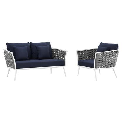 Stance Collection EEI-3169-WHI-NAV-SET 2 PC Outdoor Patio Aluminum Sectional Sofa Set in White Navy