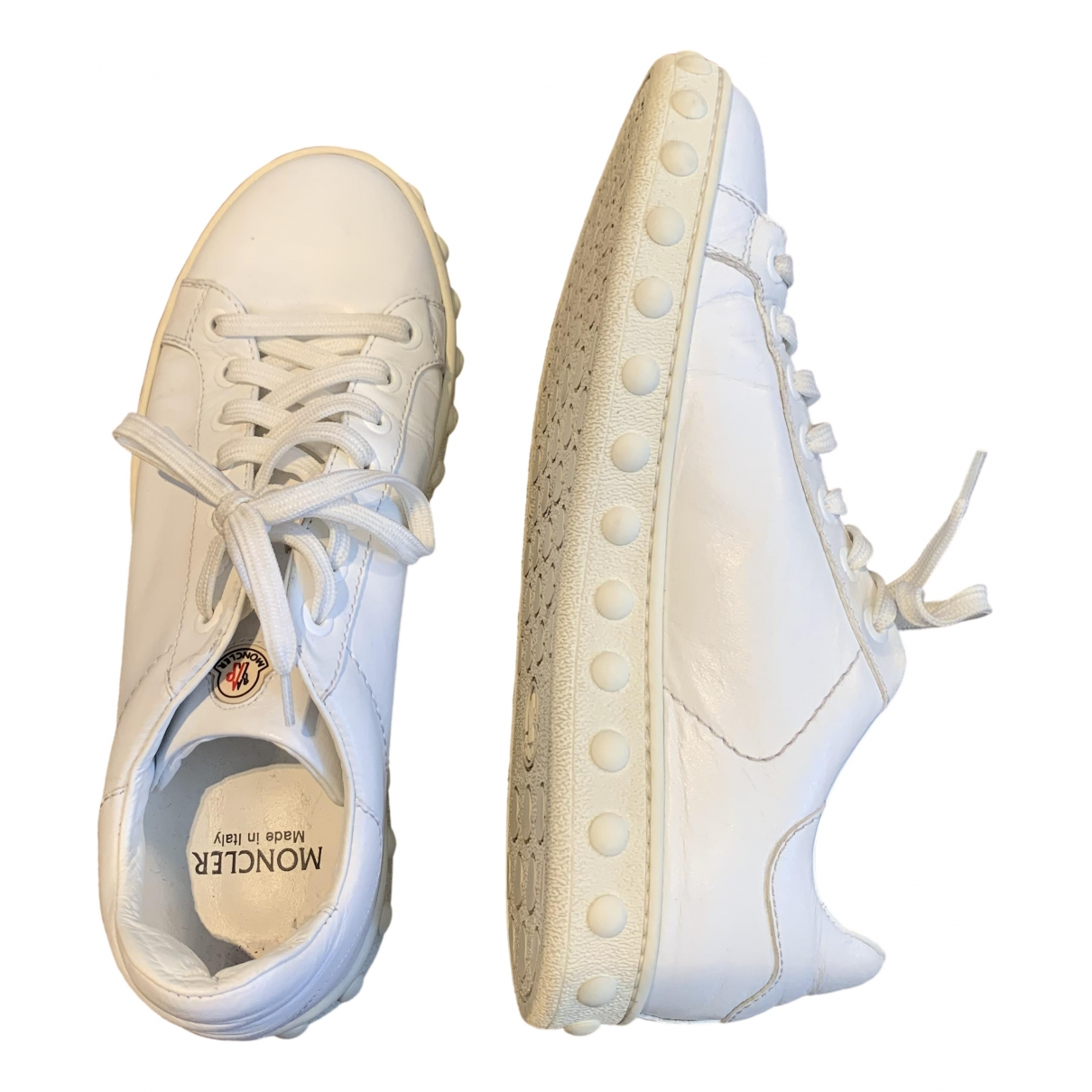 Moncler \N White Leather Trainers for Women 36 EU