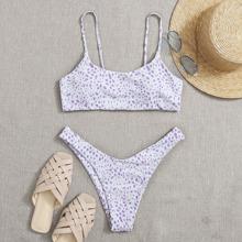 Bikini Badeanzug mit Dalmatiner Muster und hohem Beinschnitt