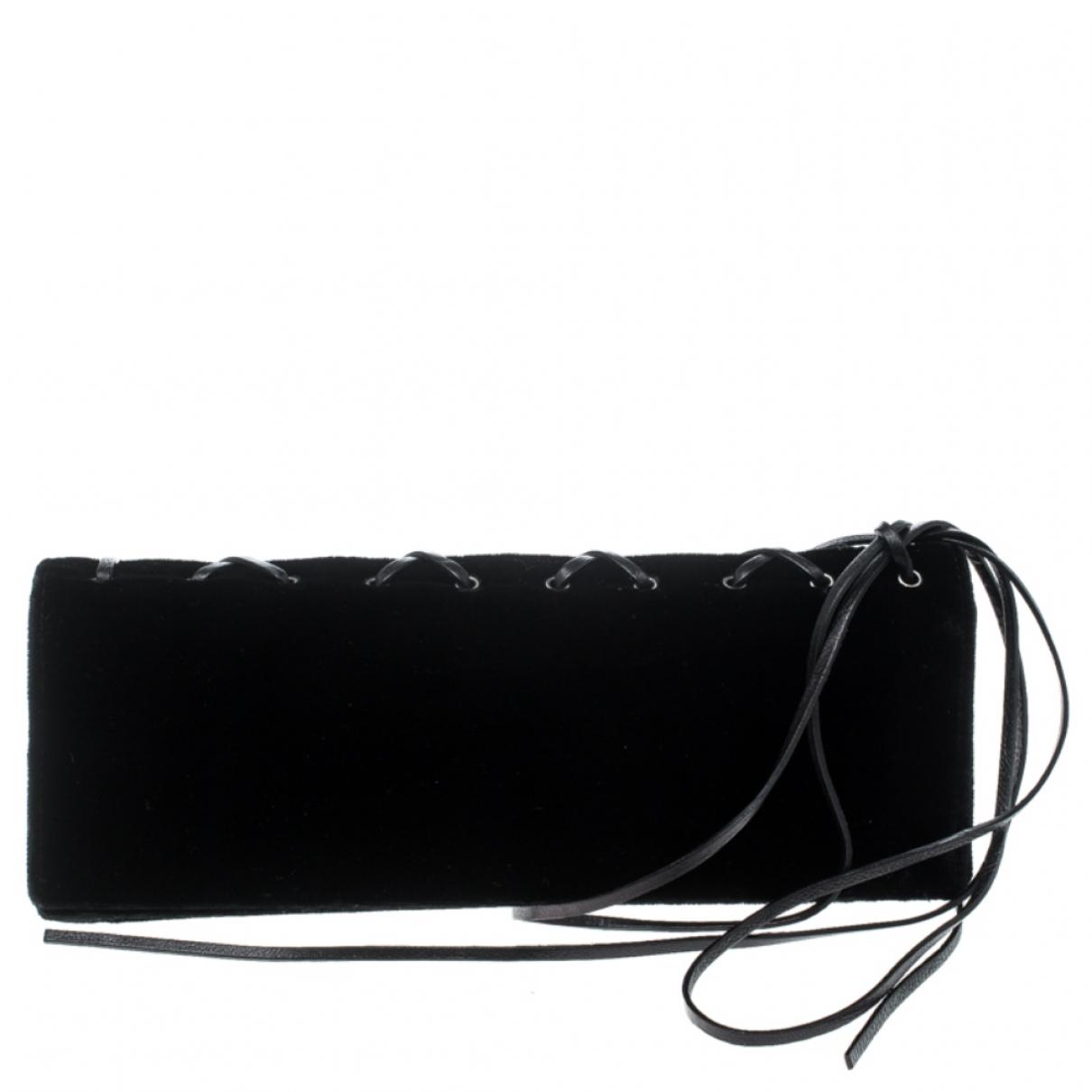 Saint Laurent - Pochette   pour femme en velours - noir