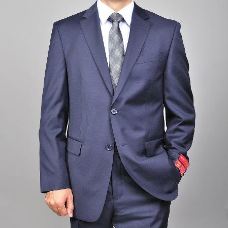 Mens Solid Navy Blue 2button Wool Suit