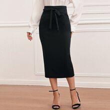 Knot Front Split Hem Skirt