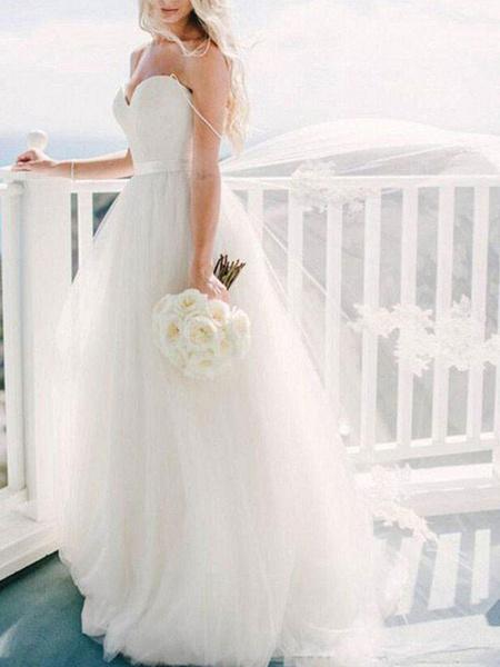 Milanoo Wedding Dress 2020 Ball Gown Sweetheart Neck Sleeveless Natural Waist Sash Tulle Bridal Dresses with train