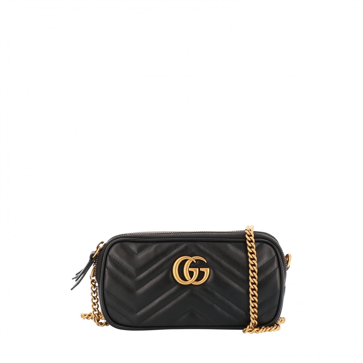 Gucci - Sac a main Marmont pour femme en veau facon poulain - noir