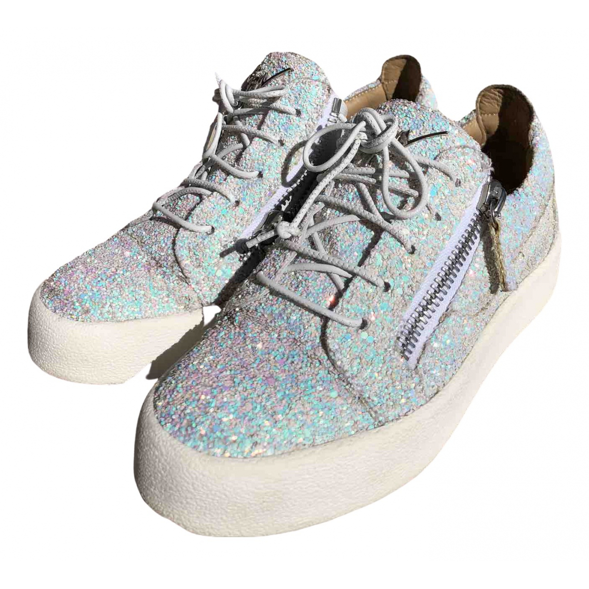 Giuseppe Zanotti Nicki White Glitter Trainers for Women 37 EU