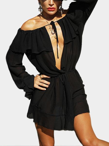 Yoins Black Off Shoulder Ruffle Cover Deep V-neck Mini Dresses