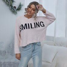 Pullover mit Buchstaben Muster und Bogenkante am Kragen