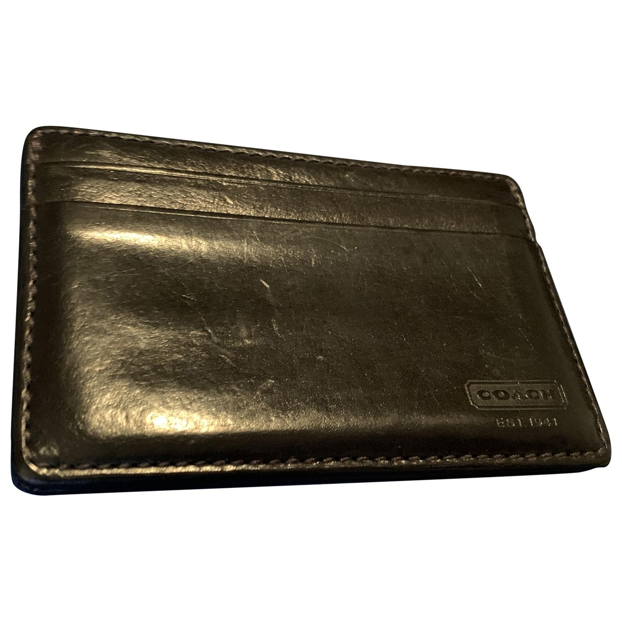Coach \N Black Leather Small bag, wallet & cases for Men \N