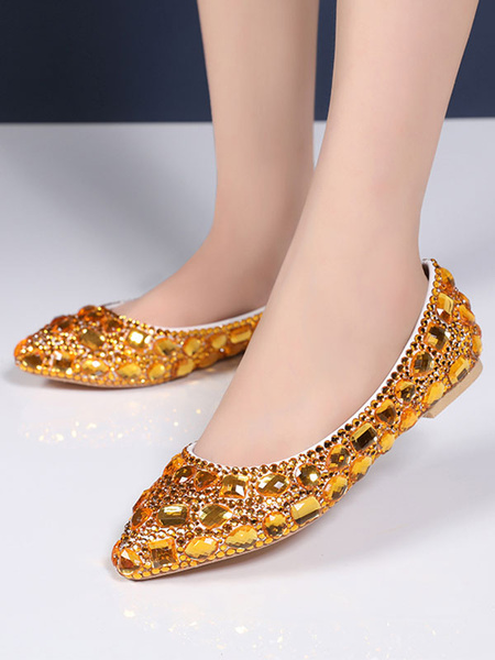 Milanoo Crystal Flat Prom Shoes Blue Pointed Toe Flats