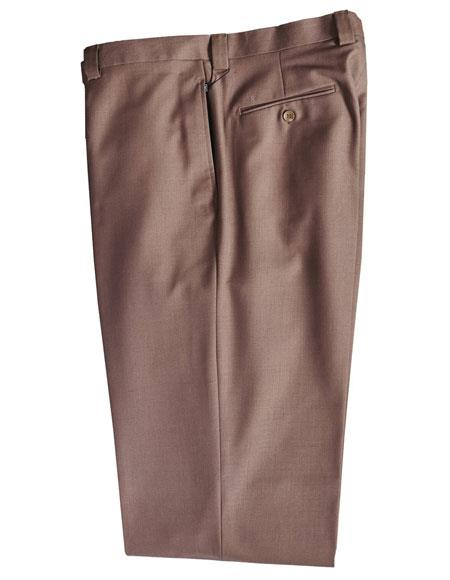 Mens Taupe 100% Wool Solid Pattern Dress Pants