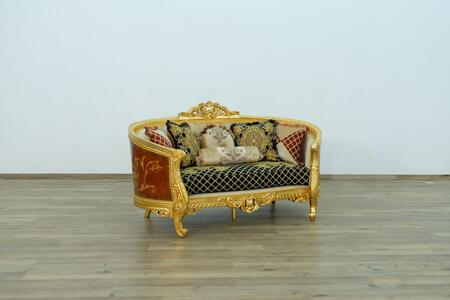Luxor Collection Luxury Loveseat  Hand Made & Hand Carved into Mahogany Wood Solid  in Gold Leaf Black Gold