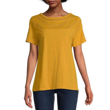 St. John's Bay-Womens Round Neck Short Sleeve T-Shirt, X-large , Yellow