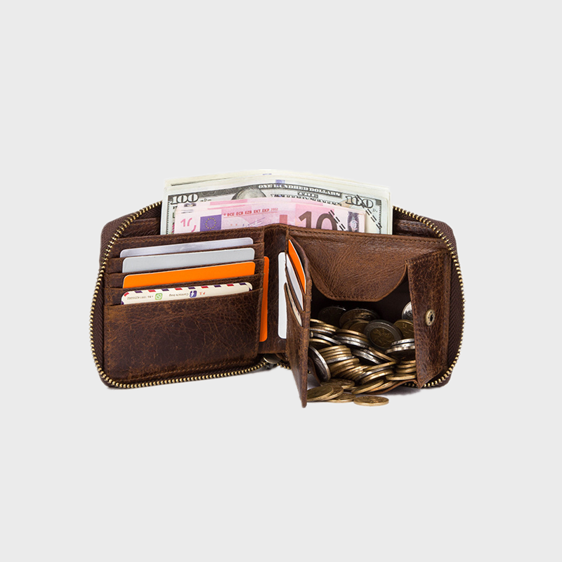 Men Genuine Leather RFID 7 Card Slots Coin Purse Wallet