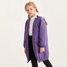 Mantel mit Raglanaermeln, Kontrast Kunstpelz und Kapuze