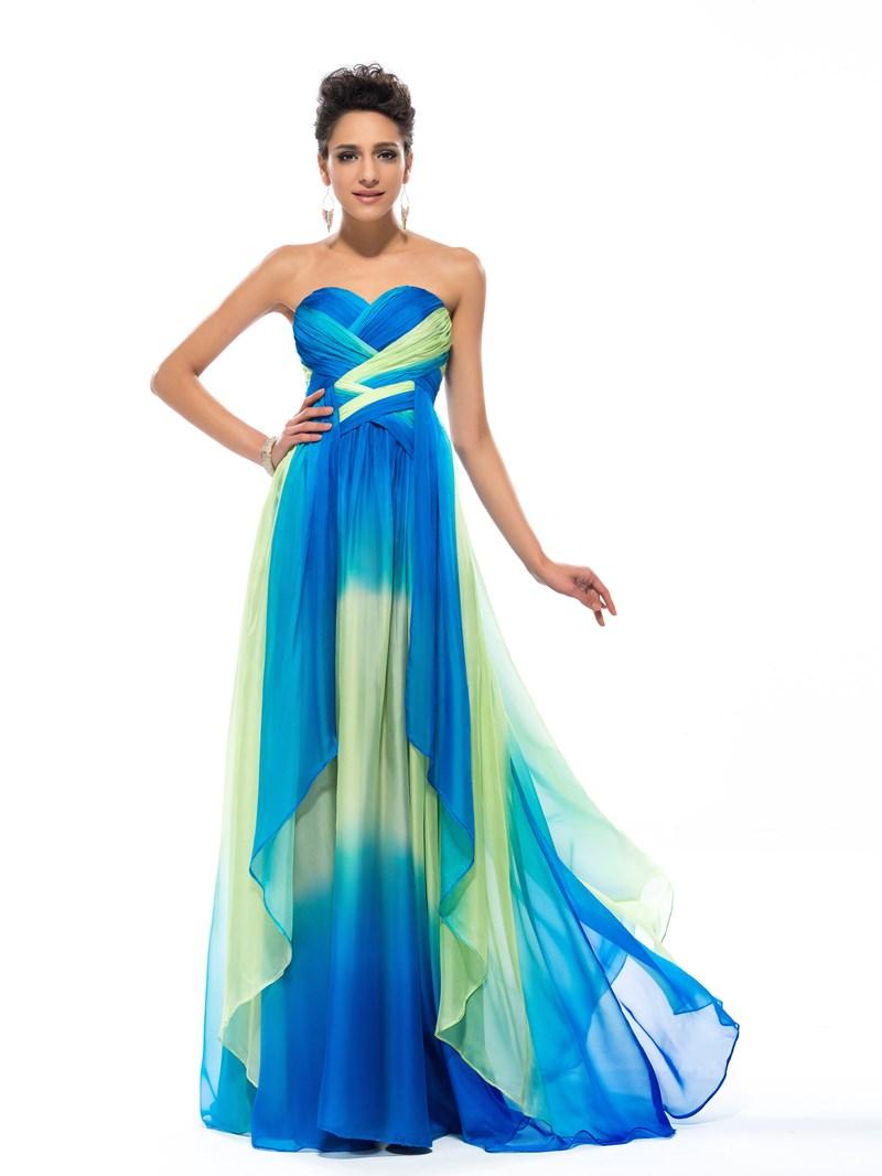 Sweetheart A-Line Pattern Pleats Floor-Length Prom Dress