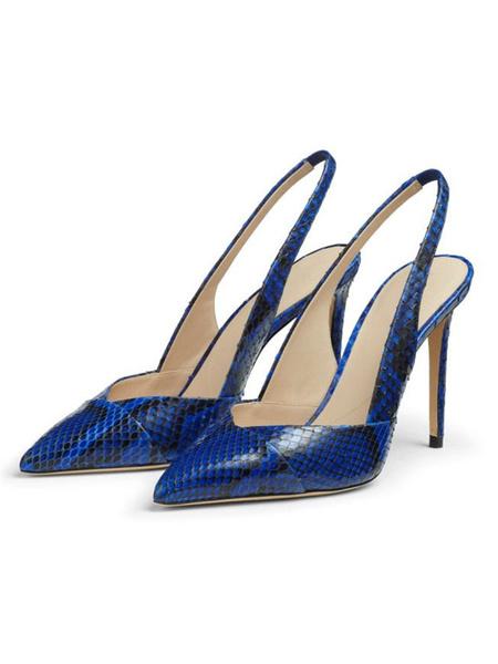 Milanoo Women High Heels Blue Pointed Toe Snake Pattern Slingbacks Dress Shoes