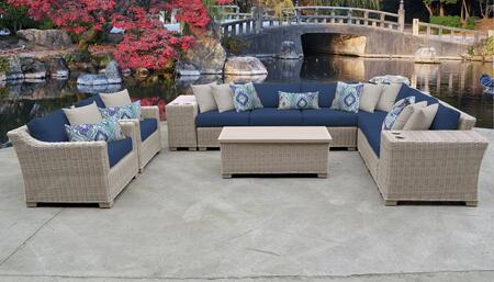 Coast Collection COAST-11d-NAVY 11-Piece Patio Set 11d with 1 Corner Chair   5 Armless Chair   2 Cup Table   1 Storage Coffee Table   2 Club Chair -