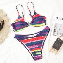 Bikini Badeanzug mit buntem Streifen und Knoten