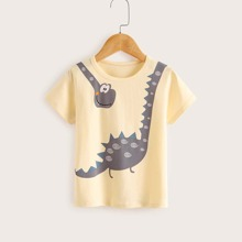 Toddler Boys Cartoon Dinosaur Print Tee
