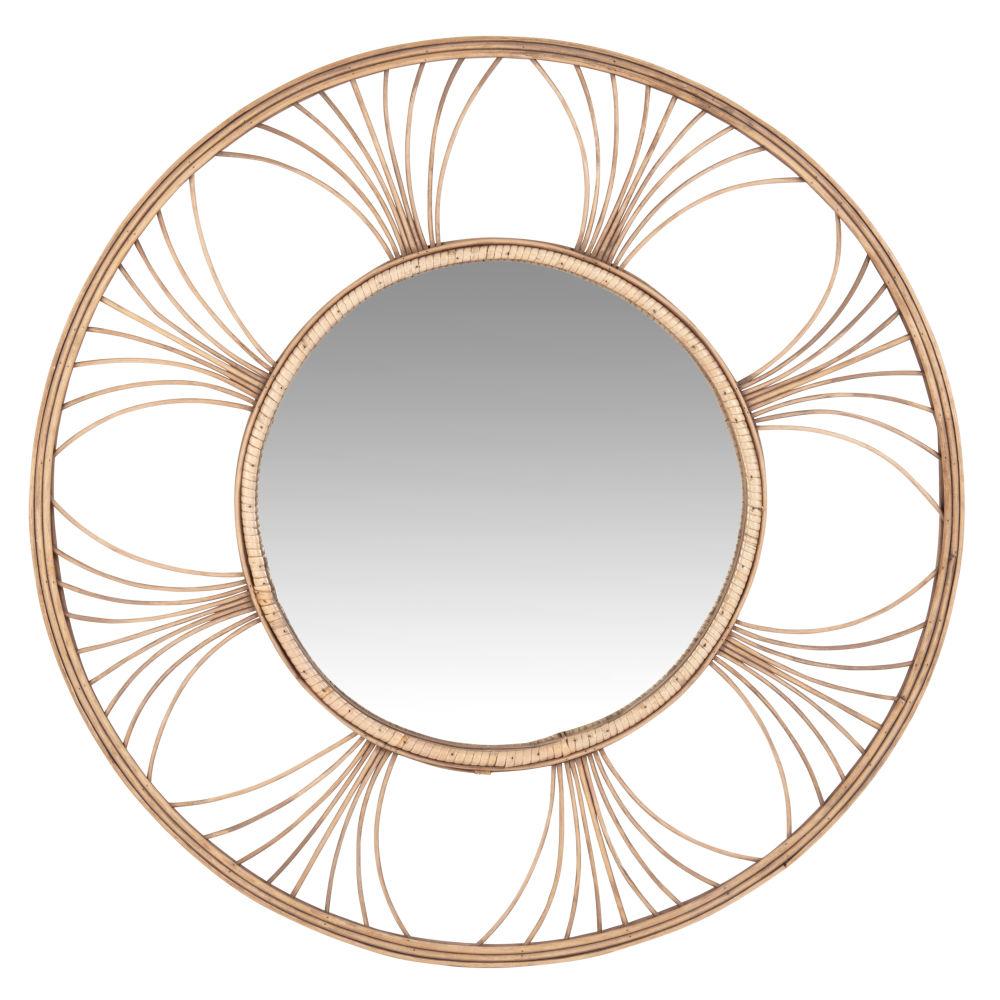 Runder Spiegel mit Rahmen aus Rattangeflecht D62
