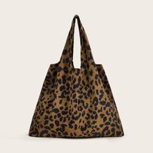 Vielfarbig Leopardenmuster  Laessig Schulter