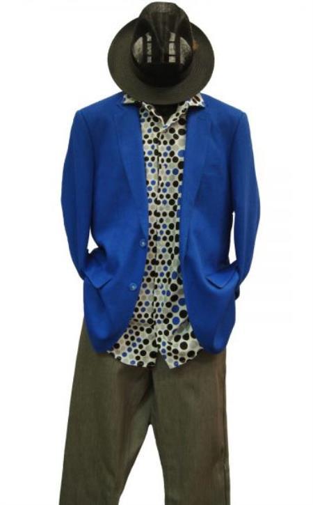 Mens 2 Buttons Linen Notch Lapel Cobalt Royal Blue Blazer