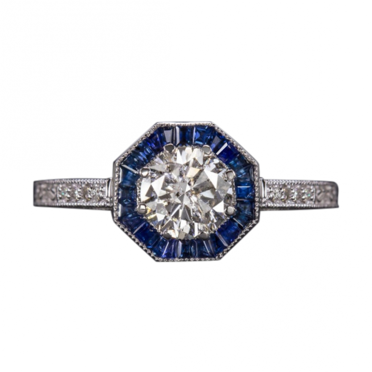 Non Signe / Unsigned Solitaire Ring in  Blau Weissgold