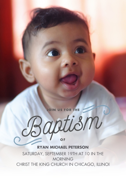 Christening + Baptism 5x7 Cards, Premium Cardstock 120lb with Rounded Corners, Card & Stationery -Baptism Curl Script