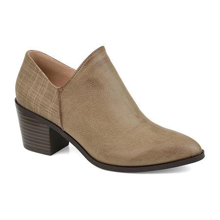 Journee Collection Womens Adison Stacked Heel Booties, 6 Medium, Beige