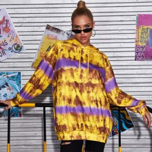 Drop Shoulder Tie Dye Drawstring Hoodie