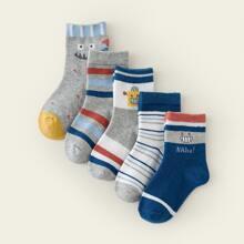 5 pares calcetines de niñitos con estampado de dibujos animados