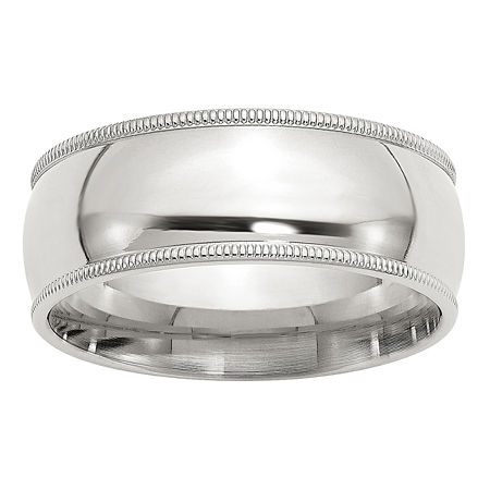 Personalized 8MM Sterling Silver Wedding Band, 8 , No Color Family