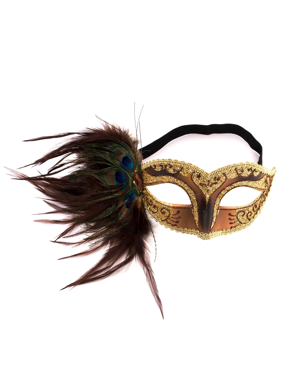Kostuemzubehor Augenmaske gold mit Pfauenfeder