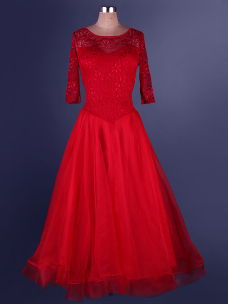 Milanoo Organza Ballroom Dance Dress Lace Patchwork Semi Sheer Pleated A Line Ballroom Dancing Costume