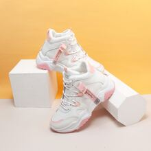 Letter Tape Decor Lace-up Front Chunky Sneakers