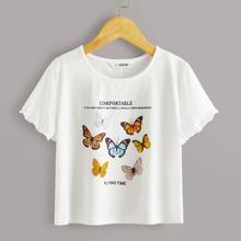 Girls Lettuce Trim Butterfly & Slogan Graphic Tee