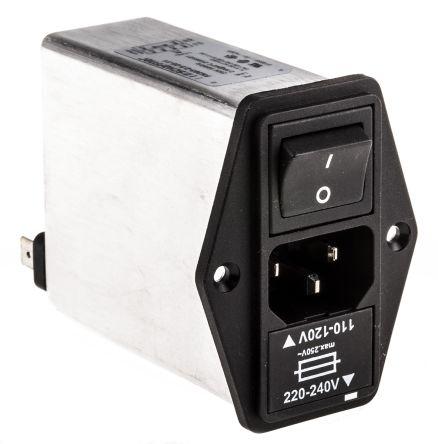 Schaffner ,2.5A,250 V ac Male Panel Mount IEC Filter 2 Pole FN 393-2,5/05-11,Faston 1 Fuse