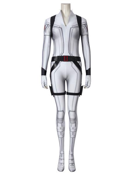 Milanoo Marvel Comics Shield Avengers Black Widow Marvel Comics Movie Natasha Romanoff White Catsuit Costume Cosplay