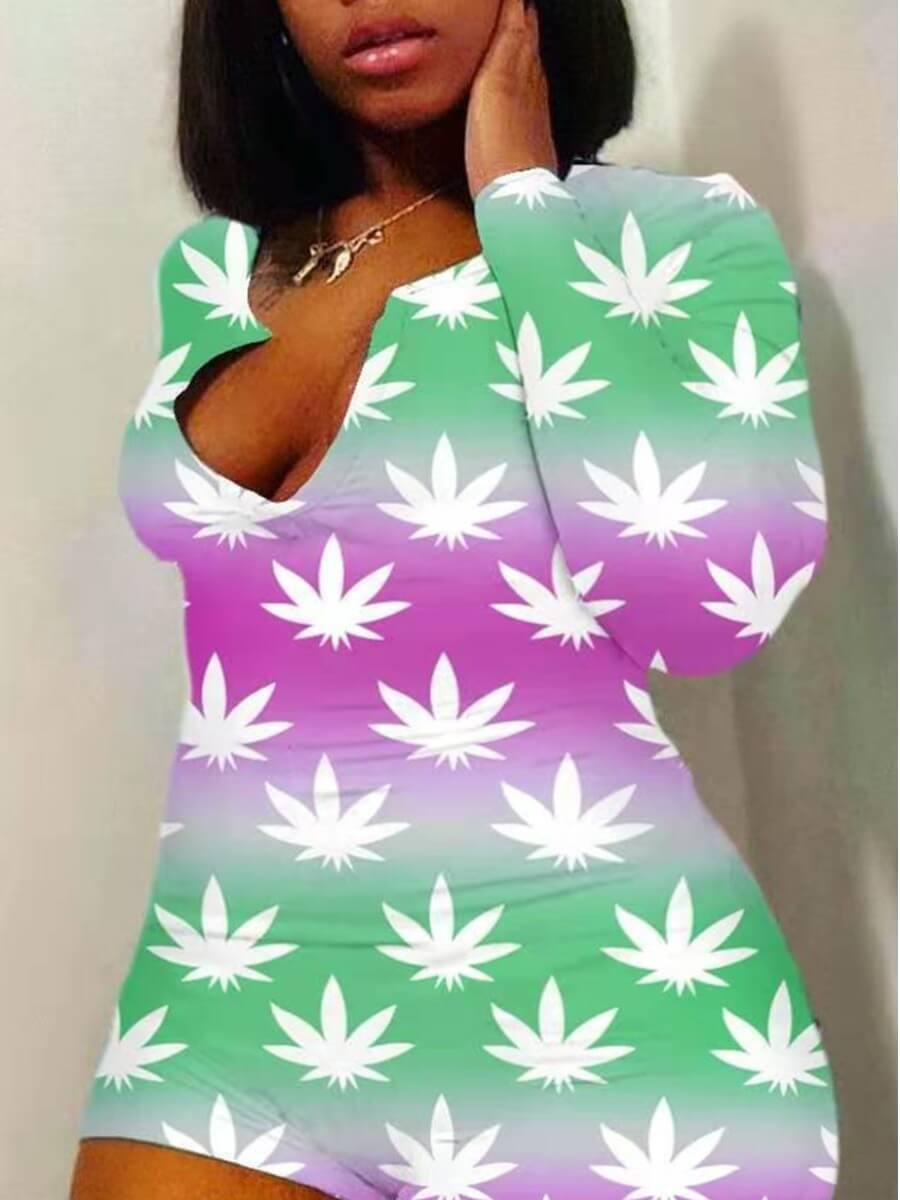 LW Lovely Sweet Floral Tie-dye Light Green Plus Size One-piece Romper