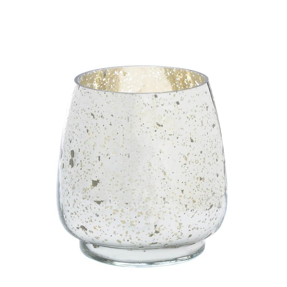 Antique Silver Mercury Glass Hurricane (M) - White (White)