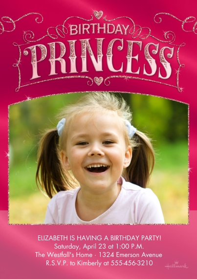 Kids Birthday Party Invites 5x7 Cards, Premium Cardstock 120lb, Card & Stationery -Birthday Princess Crown
