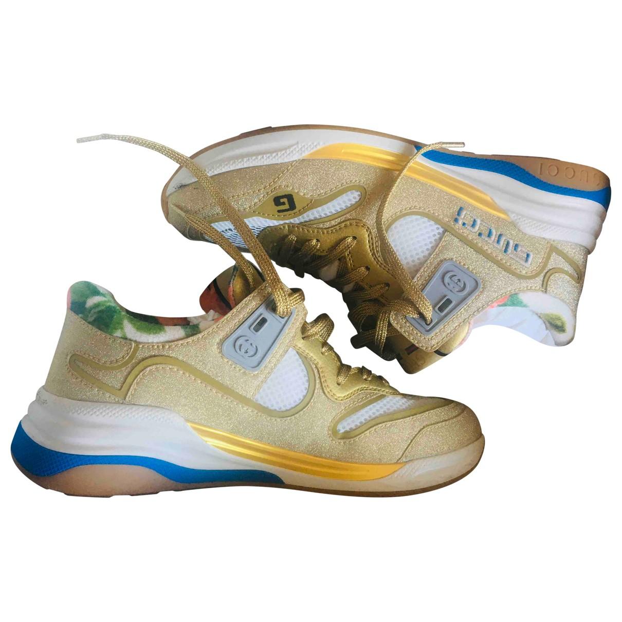 Gucci Screener Sneakers in  Gold Mit Pailletten