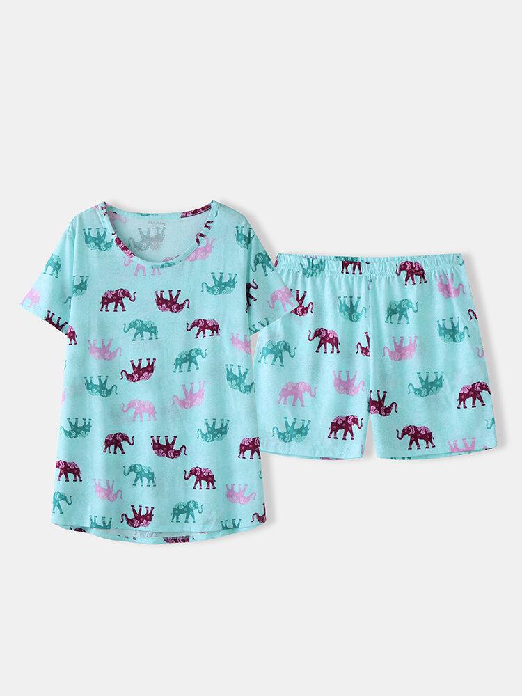 Summer Women Pajamas Short Sets Cotton Animal Print Sleepwear