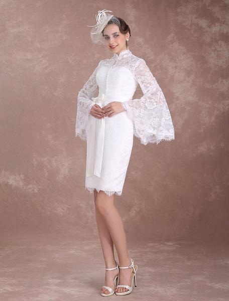 Milanoo Short Wedding Dresses Lace Sheath Ivory Bridal Dress Boho Bell Sleeve High Collar Buttons Ribbon Sash Column Knee Length Bridal Gown