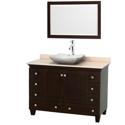 WCV800048SESIVGS3M24 48 in. Single Bathroom Vanity in Espresso  Ivory Marble Countertop  Avalon White Carrera Marble Sink  and 24 in.