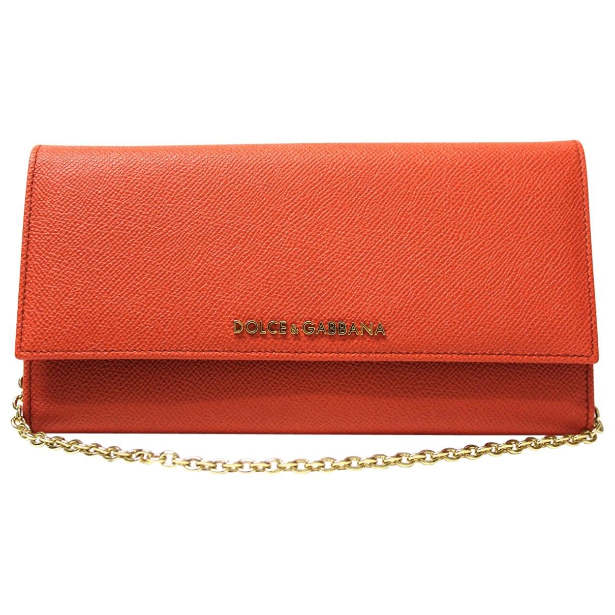 Dolce & Gabbana - Pochette   pour femme en cuir - orange