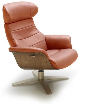 Karma Collection 18147-C Lounge Chair with Italian Leather Upholstery and Wood Veneer Outer Frame in