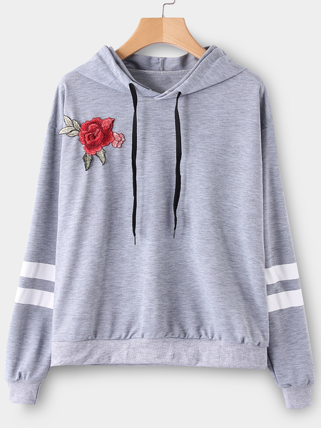 Yoins Grey Embroidered Pullover Sports Hoodies