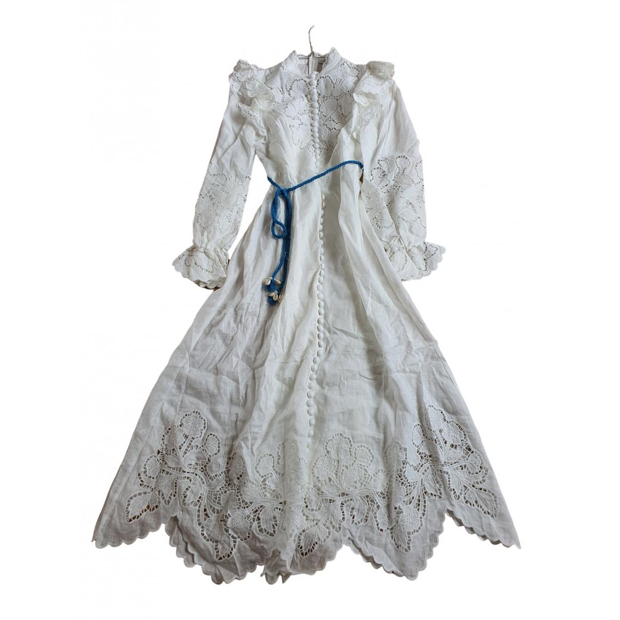 Zimmermann - Robe   pour femme en lin - blanc